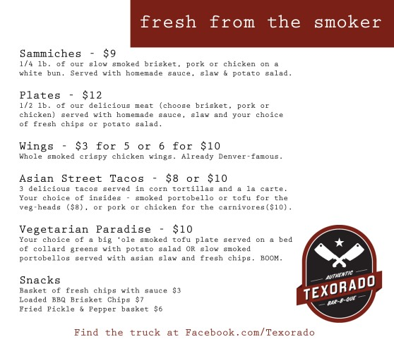 Texorado BBQ Menu - Fall 2013